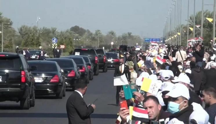 تسجيل مصور لوقائع استقبال البابا فرنسيس ومغادرته لمطار بغداد الدولي للقاء برهم صالح